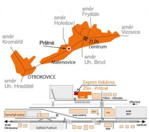 Tiskový Express Zlín, mapa