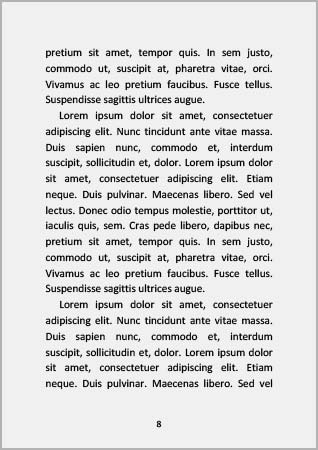 Skladba stran v knize, text